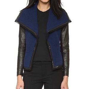 VINCE Leather Sleeve Knit Jacket Blue Black 2 $695